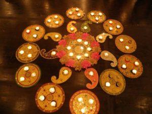 Mehndi decorations candle