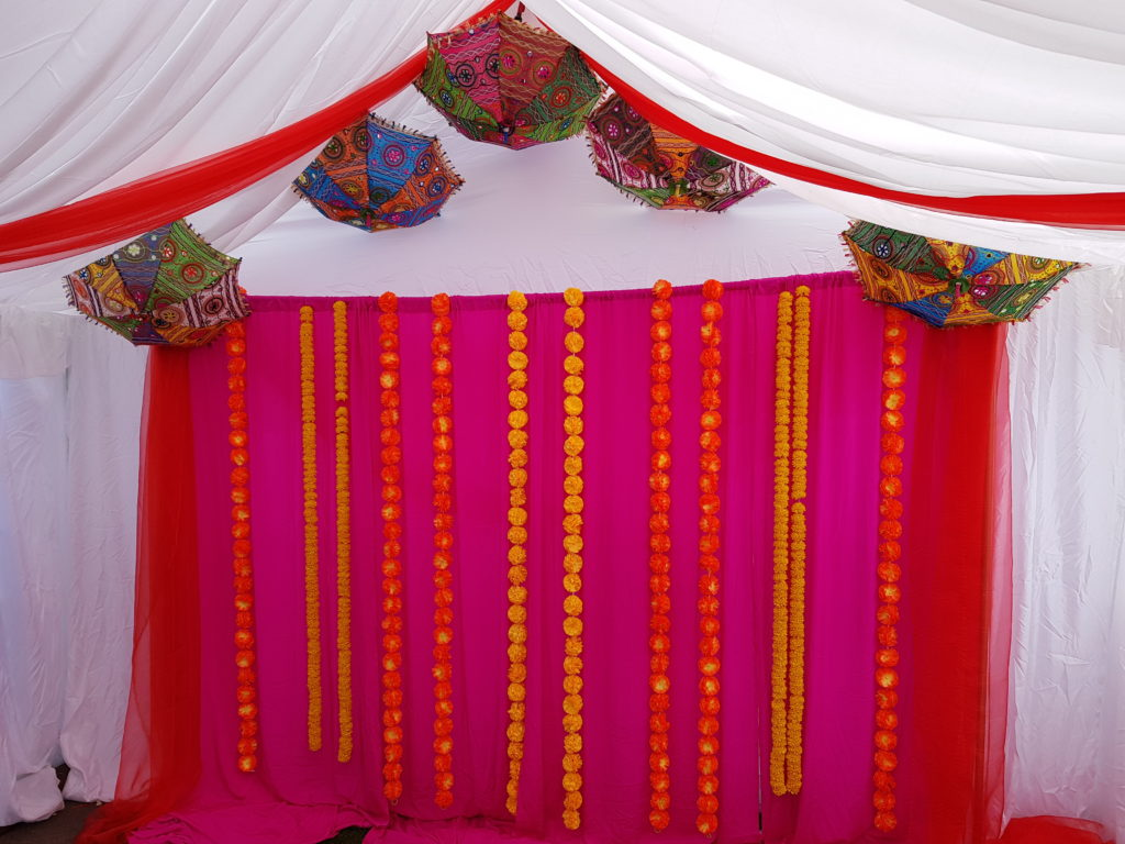 Pink with Green & Yellow garlands