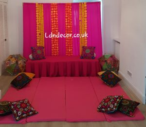 Pink With mehndi garlands