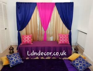 Royal Blue, Gold & Pink backdrop price