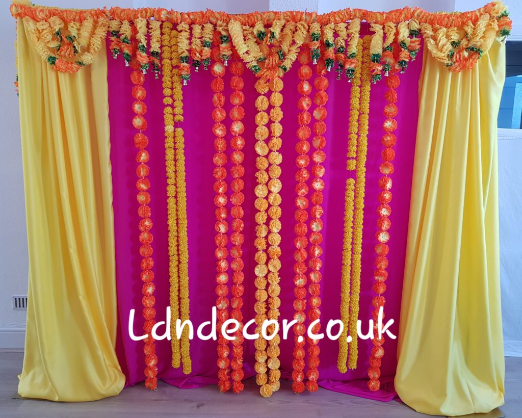 Pink and yellow mehndi garlands London