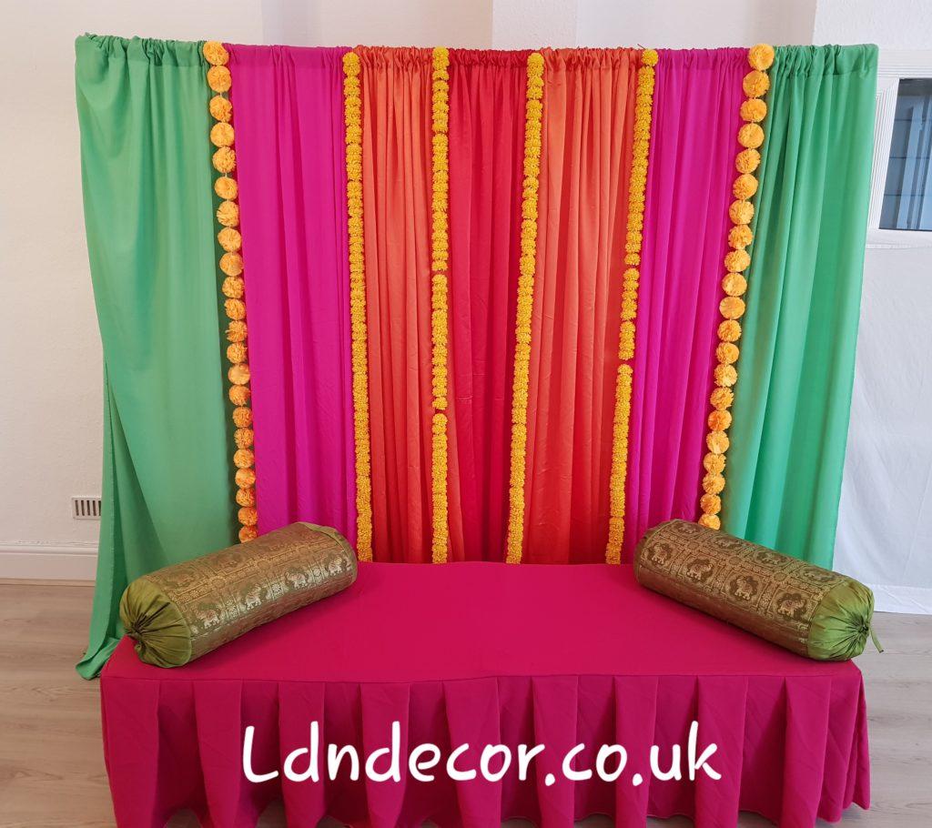 Jade, Pink, Orange , Red with Yellow garland mehndi decor